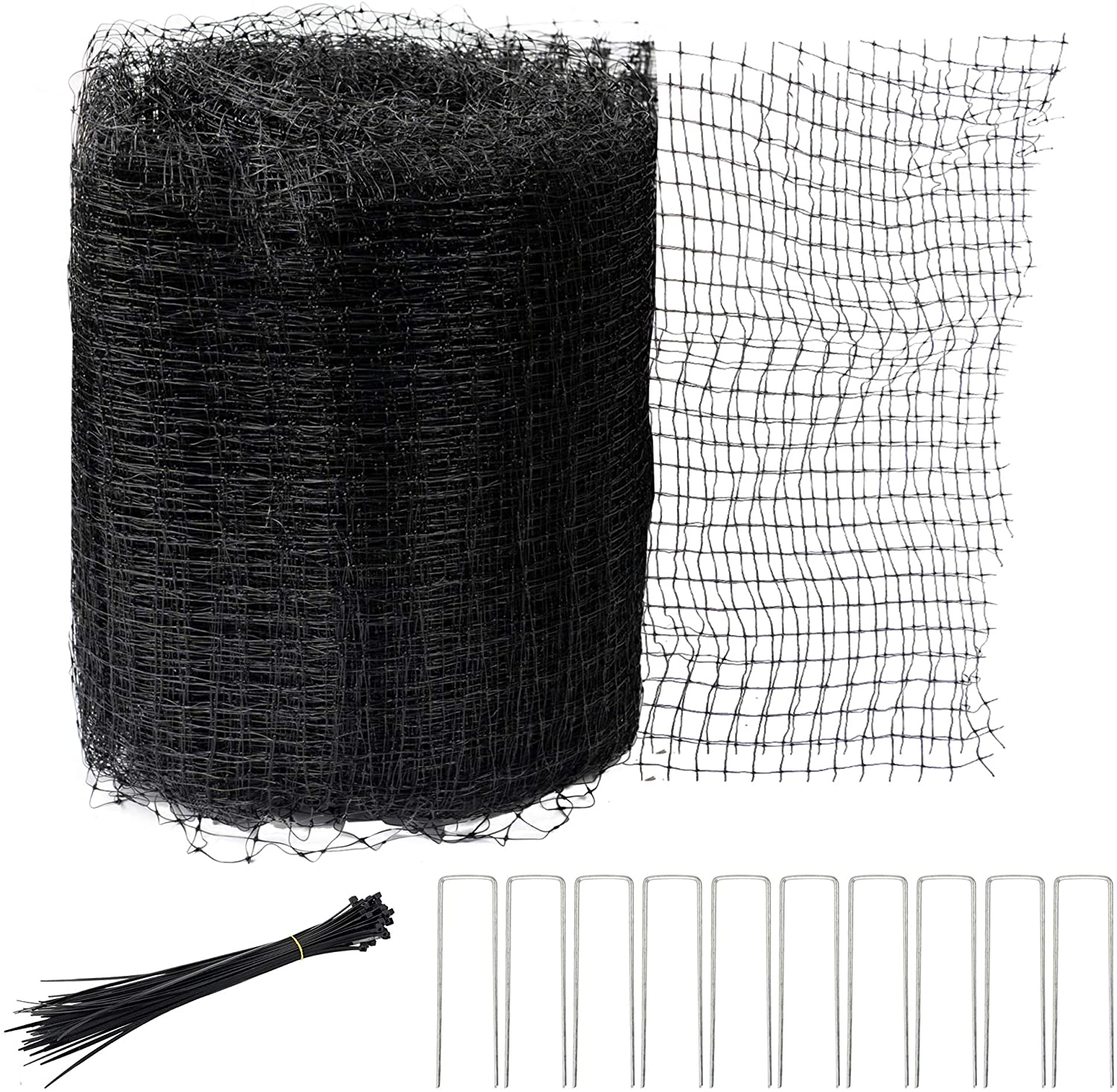 Hourleey Bird Netting, 7 x 50 FT Black Deer Fence Netting Reusable Protective Garden Netting for Vegetables Plants Fruit Trees with 50 Pcs Cable Ties