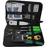 Splinktech Kit d'outils pour câbles RJ11et RJ45, Pince à sertir et à dénuder,testeur de câble, poinçonneuse, capuchons RJ1KIT Noir