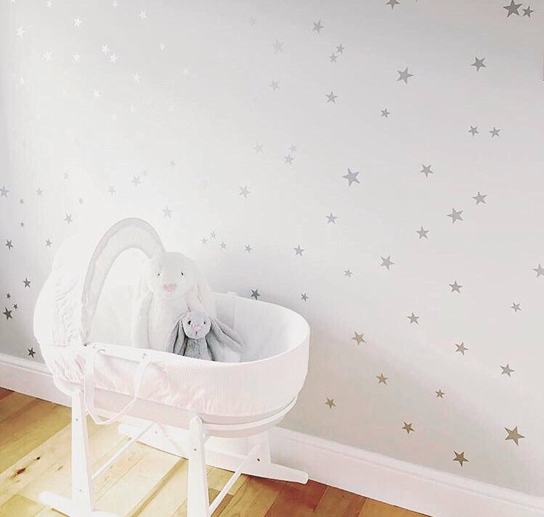 Amazon.com: Silver Stars Nursery Wall Decals - Stickers Wall Art ...