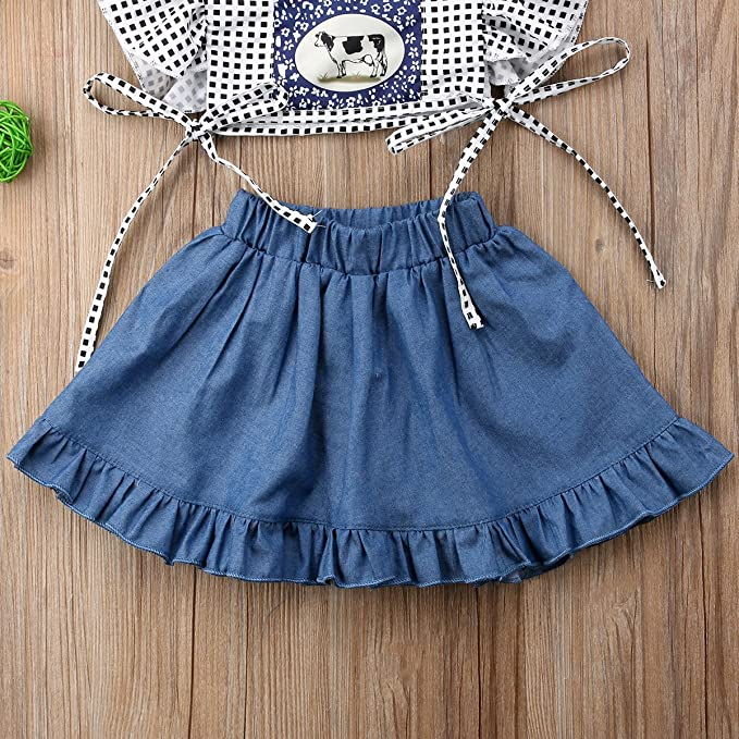 3b28e0b86546 Amazon.com  Infant Baby Girl Cow Print Outfit Ruffle Denim Skirt ...