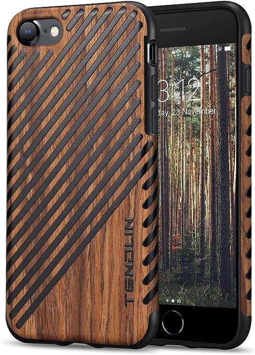 TENDLIN Compatible avec iPhone SE 2020 Coque iPhone 8 Coque iPhone 7 Grain Bois Extérieur Souple TPU Silicone Hybrid Slim Case (Bois et Cuir)
