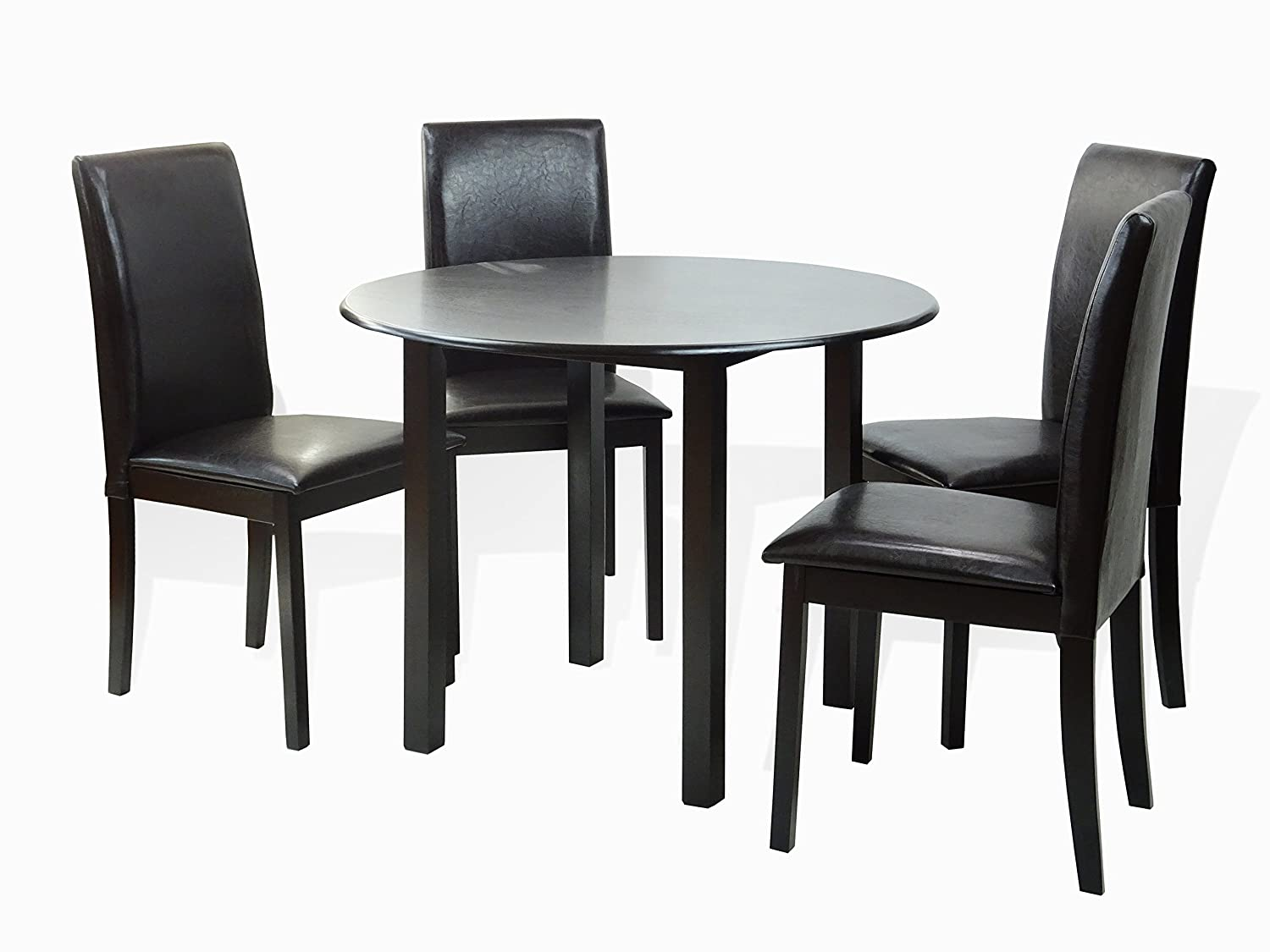 SunBear Furniture Dining Kitchen Set of 5 Piece Round Table and 4 Classic Solid Wood Chairs Fallabella, Espresso