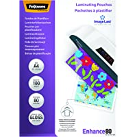 Fellowes 5306114 Pouches Di Plastificazione, Formato A4, 80 Micron, Confezione da 100 Pezzi
