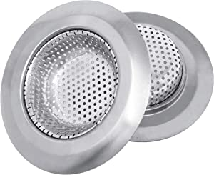 Makerstep 2 Pack of Stainless Steel Sink Drain Strainer Baskets 4.5 Inch Diameter. Kitchen Stopper. For Dishes, Garbage Disposal, Large Wide Rim Prevents Clogged Drains Catcher. Fine Mesh.