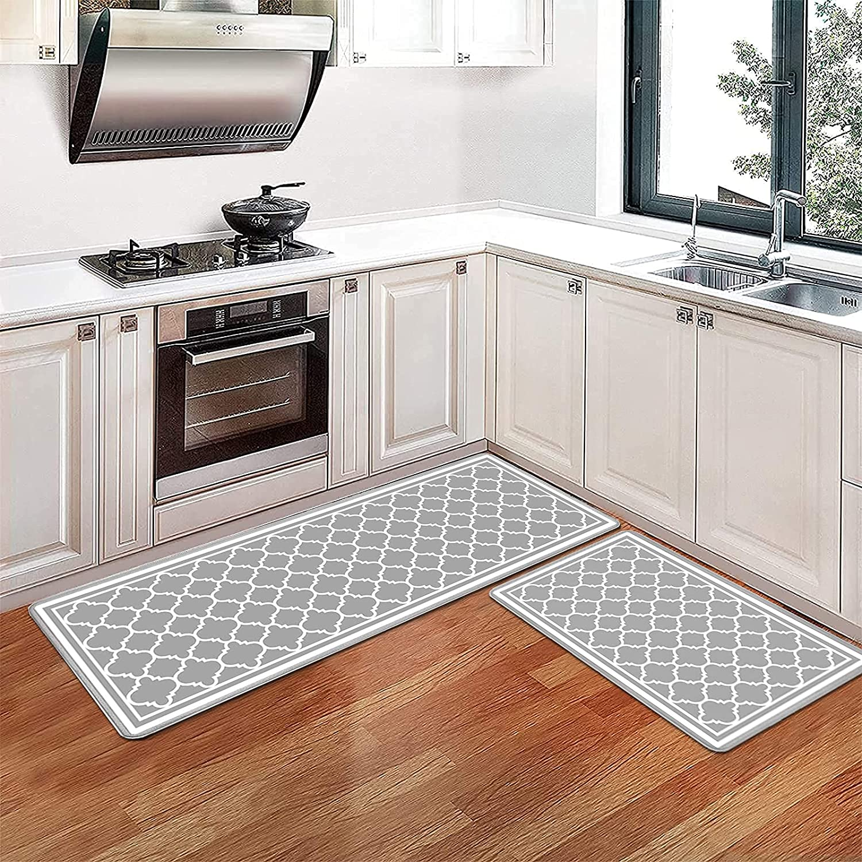 Pauwer Anti Fatigue Kitchen Rug Set Of 2 Non Slip Waterproof Kitchen Floor Mats Thick Cushioned Comfort Mat Wipeable Kitchen Runner Rug Set 17 X47 17 X28 Amazon Ca Home
