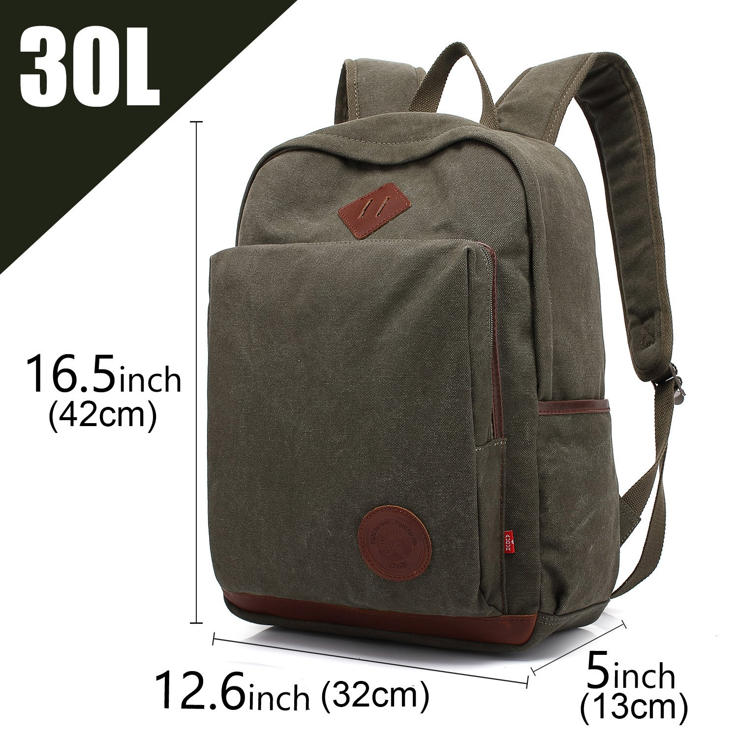 7bd39094518 AUGUR Unisex Vintage Backpack Canvas Rucksack Bookbag College School Casual  Daypack laptop Bag for Ourdoor Travel Camping Hiking(army green):  Amazon.co.uk: ...