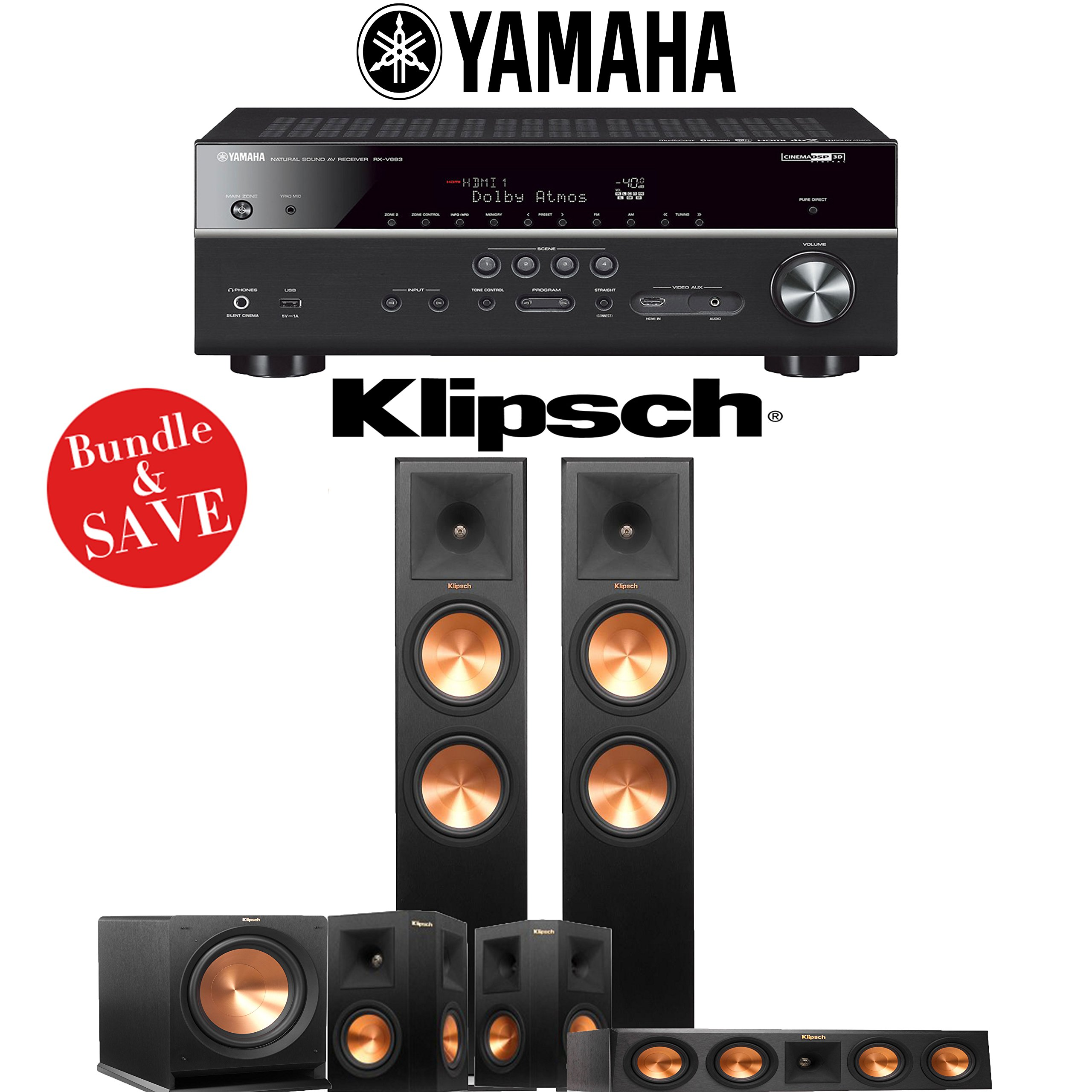 Klipsch Reference Premiere RP-280F 5.1-Ch Home Theater System with Yamaha RX-V683BL 7.2-Ch 4K Network AV Receiver by Klipsch