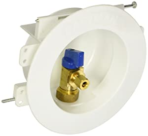Eastman 60237 Sweat Round Mini Ice Maker Outlet Box, 1/2-inch Sweat Connection with Installed 1/4-Turn Ball Valve, White