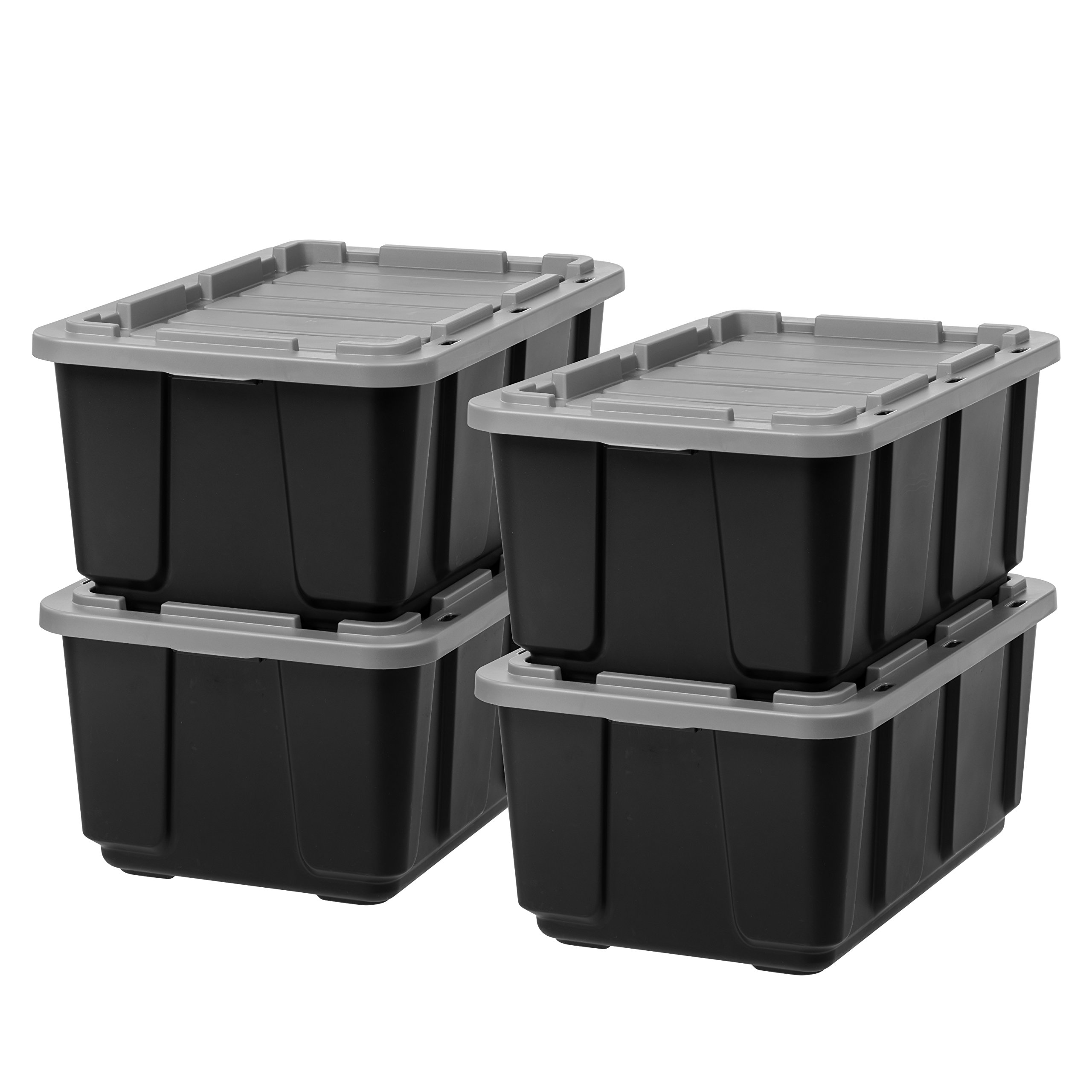 IRIS 27 Gallon Utility Tough Tote, 4 Pack, Black with Gray Lid by IRIS USA, Inc.
