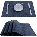 Topfinel Placemats for Dining Table,PVC Table Mats Set of 4,Place Mats Non-Slip Heat Resistant Washable,Navy
