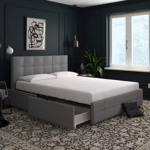 Amazon Com Dhp Rose Upholstered Bed With Storage Gray Linen Queen Furniture Decor