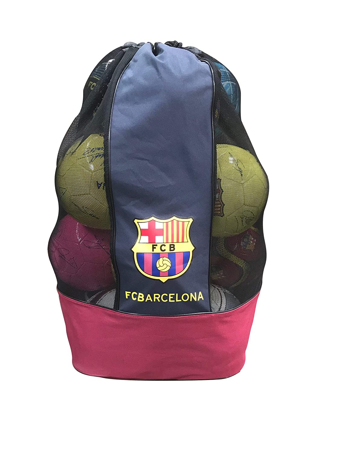 FC Barcelona Nylon Mesh Drawstring Sports Equipment Ball Bag Large Sack with Shoulder Strap for Practice size 17x17x31