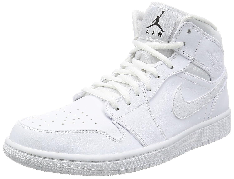 Nike Herren Air Jordan 1 Mid Sneakers  45.5 EU|Wei? (White/Black-white)