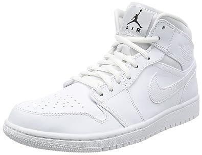 sports shoes e6bc5 20b5d Nike Herren Air Jordan 1 Mid Sneaker, Weiß Black-White, 42.5 EU