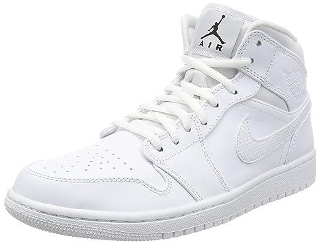 separation shoes b75de 5a8ce Jordan Nike Men s Air 1 MID White 554724-110 (Size  ...