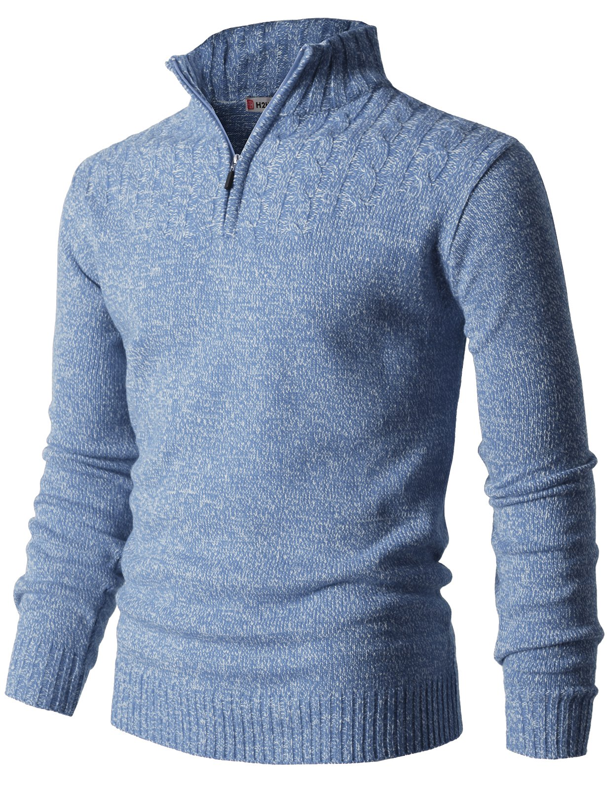 H2H Mens Casual Half Zip with Twisted Knitted Long Sleeve Pullover Sweater Sky US XL/Asia 2XL (CMOSWL027)