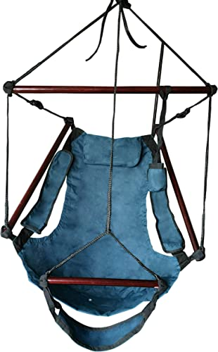 SueSport New Blue Hammock Chair Outdoor Hanging Chairs w Arm Rests Footrest Holds 250lb