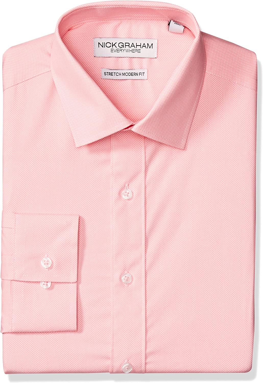 Nick Graham Mens Modern Fitted Micro Pin Dot Print Stretch Dress Shirt