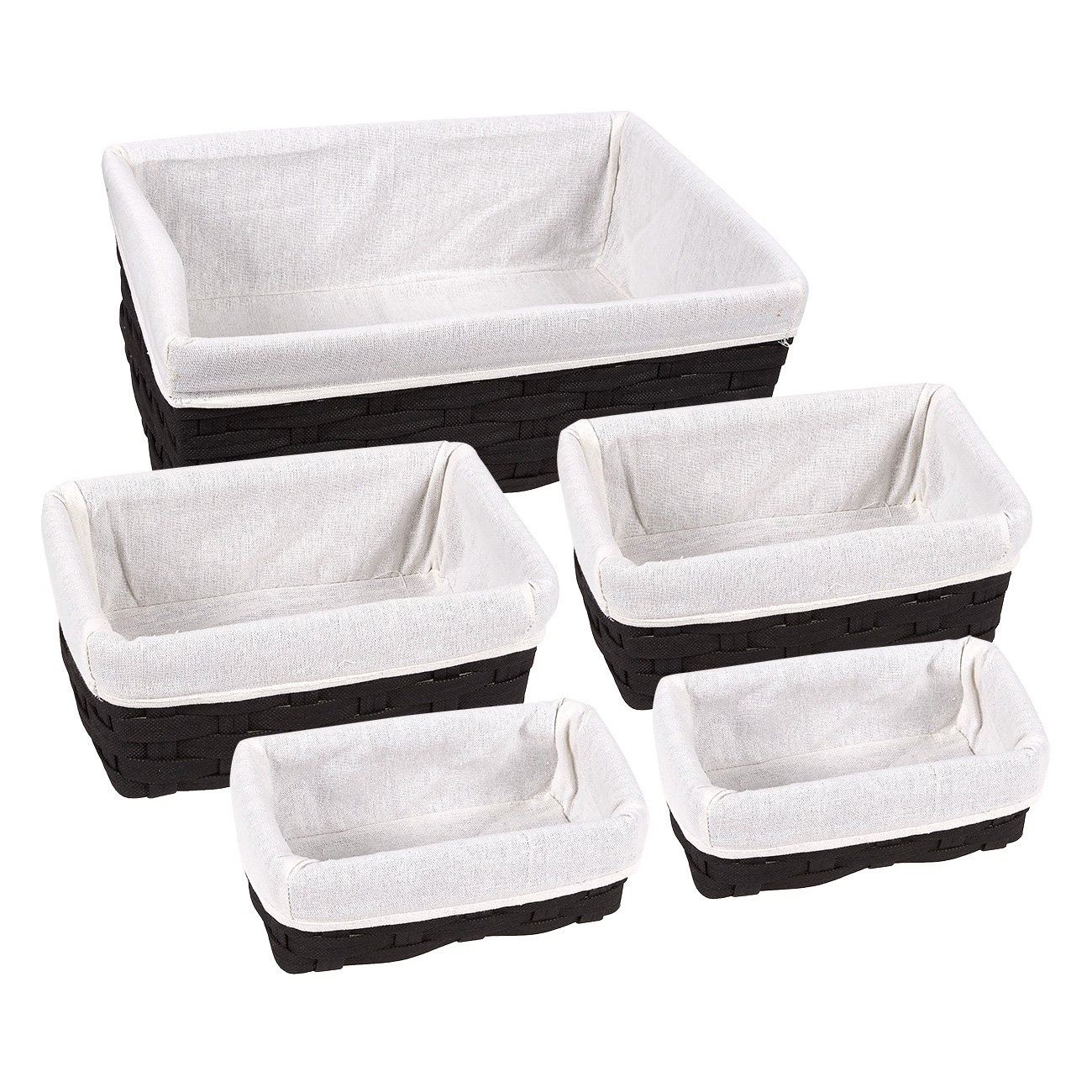 Juvale Storage Baskets - 5-Piece Nesting Baskets, Black Storage Containers - Storage Bins Set - Decorative Organizing Baskets Shelves, Kitchen, Bathroom Bedroom - 2 Small, 2 Medium, 1 Large