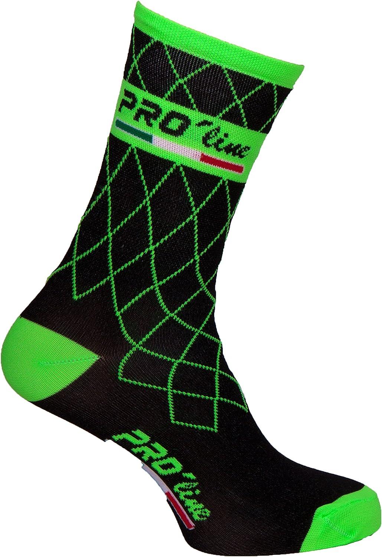Proline Team Calcetines de ciclismo verdes flúor; 1 par de talla ...