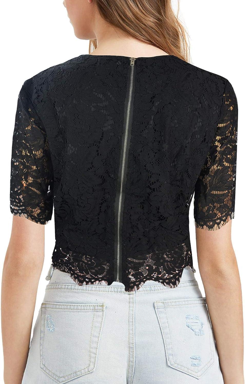 Mengar Womens Casual Tops Short Sleeve Elegant Loose Fit Sheer Lace Splice Peplum Blouse Loose Shirts