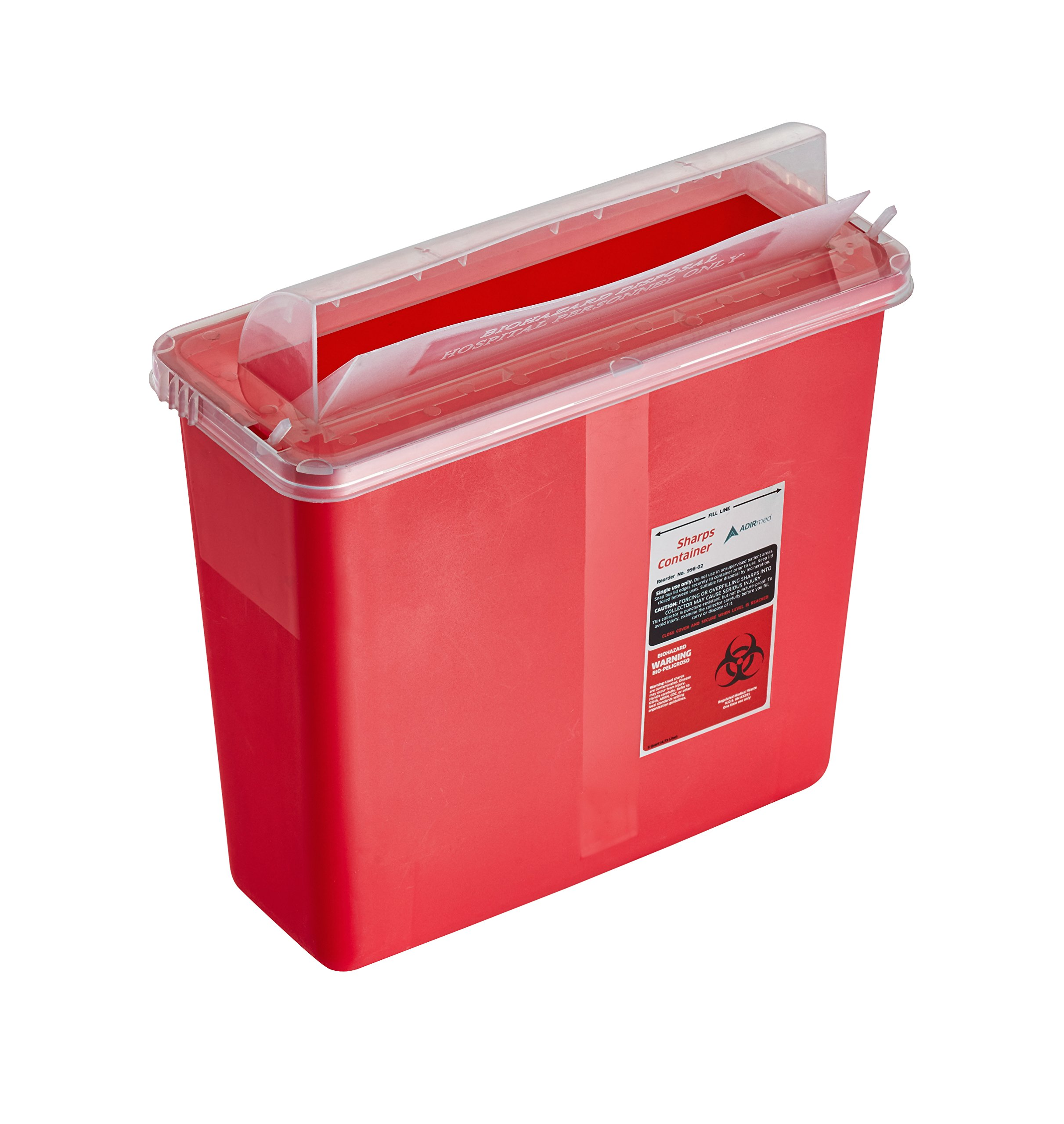 AdirMed Sharps & Needle Biohazard Disposal Container - 5 Quart - Mailbox Style Horizontal Lid - 1 Pack by Adir Med (Image #3)