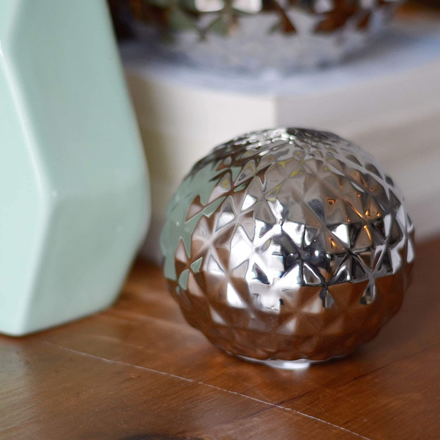 Sphere Disco Style Globe 4 Inches in Diameter Glazed Ceramic Bowl Filler or Free Standing Art WHW Whole House Worlds Crosby Street Faceted Silver Ball