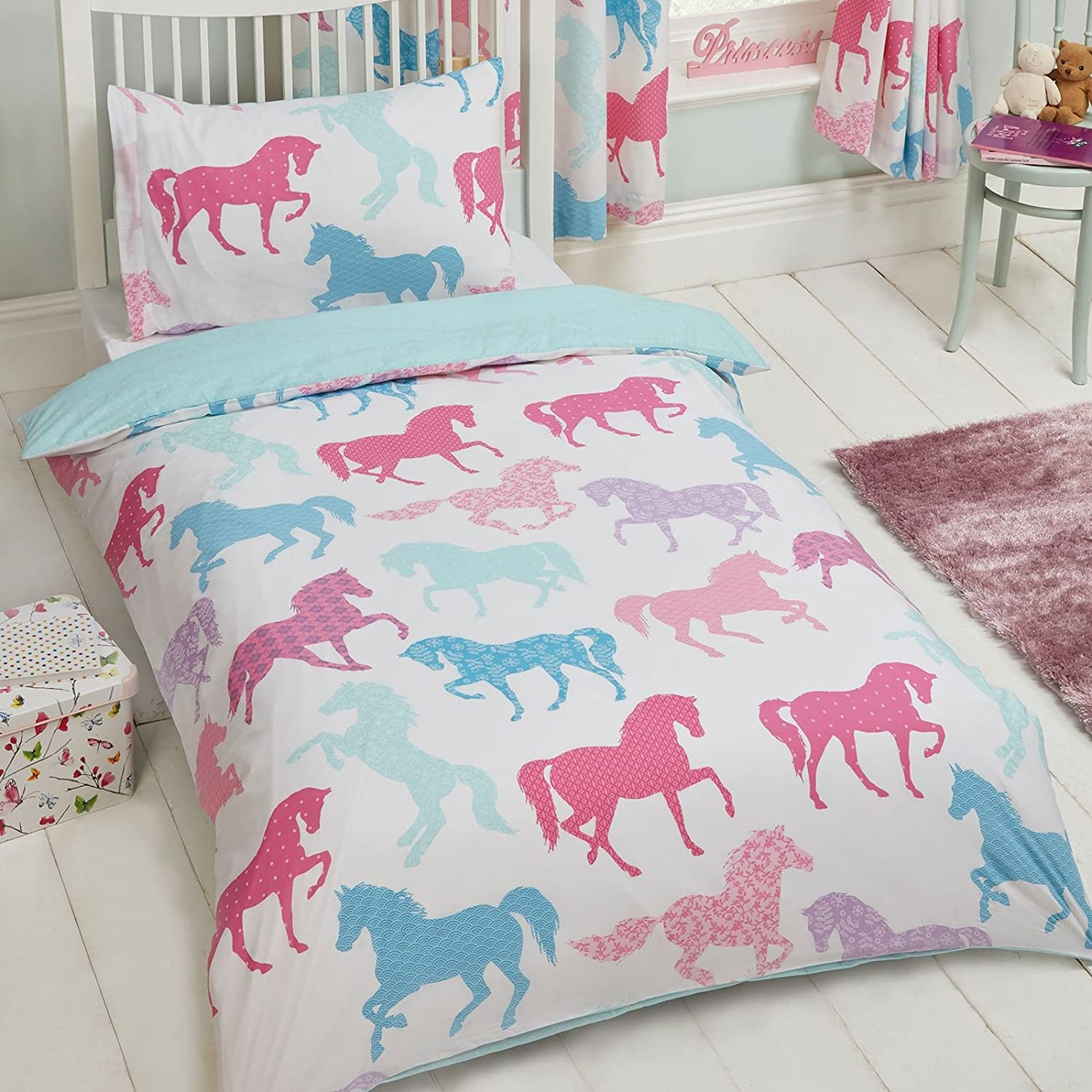 Patchwork Ponies/Horses Single Duvet Cover and Pillowcase Set by PriceRightHome Rapport