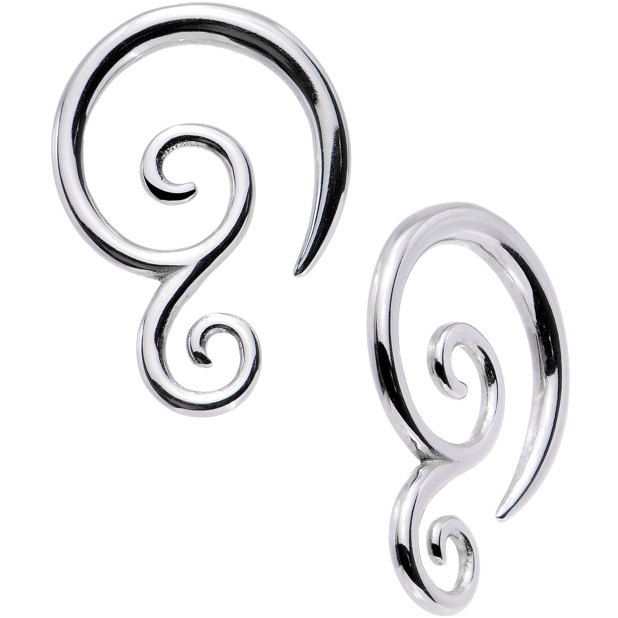 Body Candy Stainless Steel Double Swirl Spiral Taper Set of 2 10 Gauge
