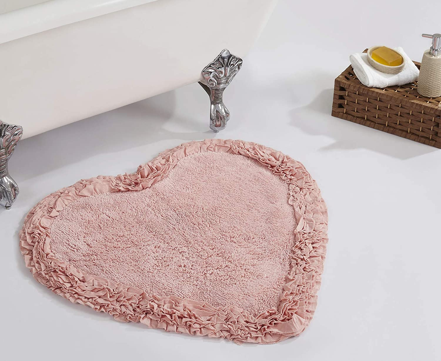 "Better Trends Shaggy Border Collection is Ultra Soft, Plush and Absorbent Tufted Bath Mat Rug 100% Cotton in Vibrant Colors, 30"" Heart, Pink"