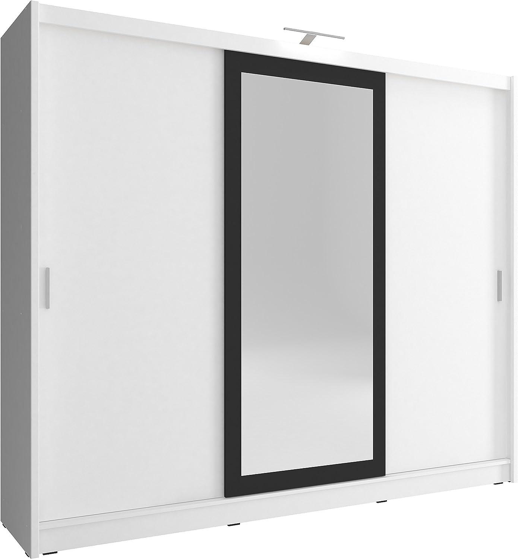 MUBLO - Armario con 2 Puertas correderas y luz LED (250 x 214 x 62 ...