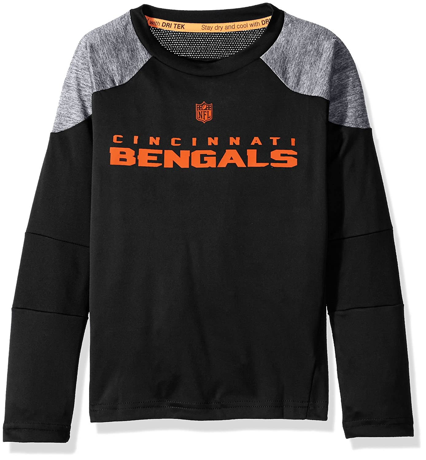 5-6 Outerstuff NFL Boys 4-7Gamma Long Sleeve Performance Tee-Black-M Cincinnati Bengals