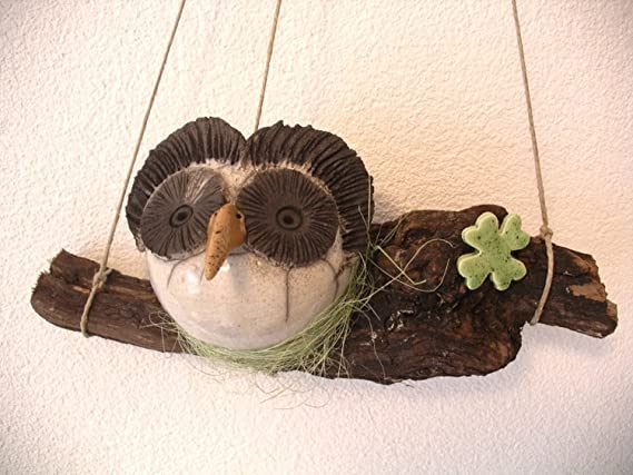 Diseño de búho y amplias en forma de botellas de vino y vides - de cerámica de Angelika: Amazon.es: Hogar