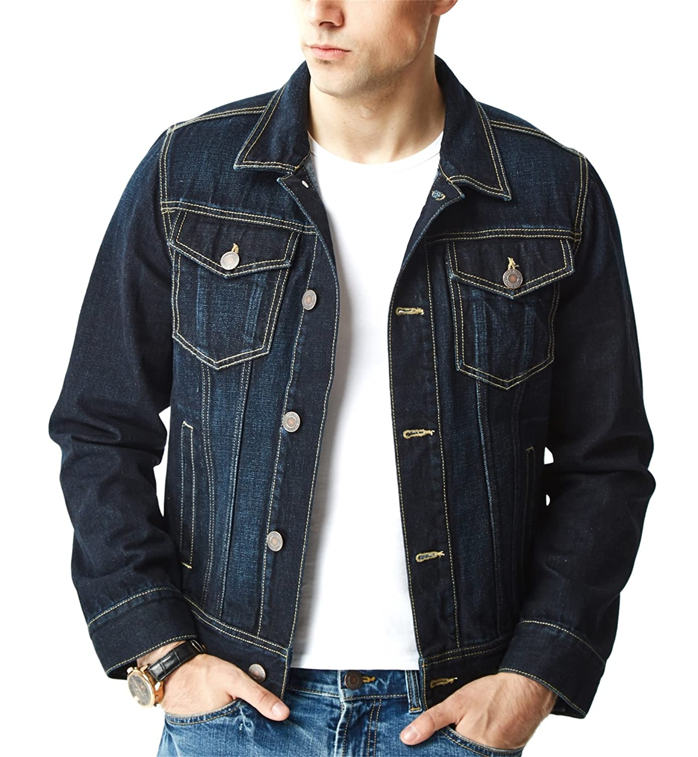 Aspop Jeans Men's Regular-Fit Jean Jacket