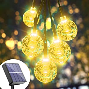 Solar String Lights Globe Outdoor - 36FT 60 LED Solar Crystal Ball String Lights Waterproof, 8 Mode Warm White Balls Solar Powered Fairy Lights for Garden, Patio, Gazebo, Yard, Party, Tree Decoration