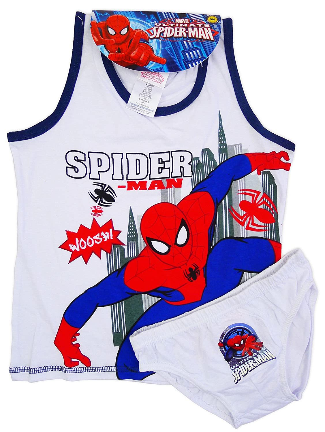 b19e7fd7604e Boys Spiderman Cars Mcqueen Underpants Vest Set Kids 2-8 Years Cotton Briefs  (4-5 years, Spiderman White): Amazon.co.uk: Clothing