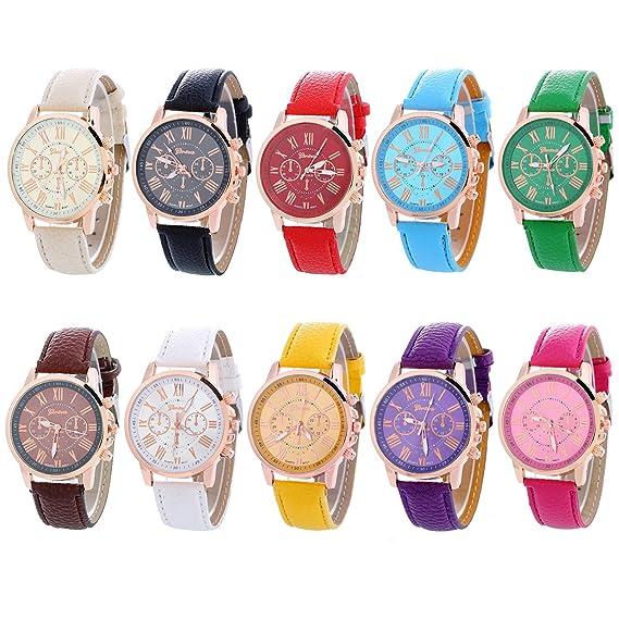 Amazon.com: Geneva - Juego de 10 relojes de brazalete ...