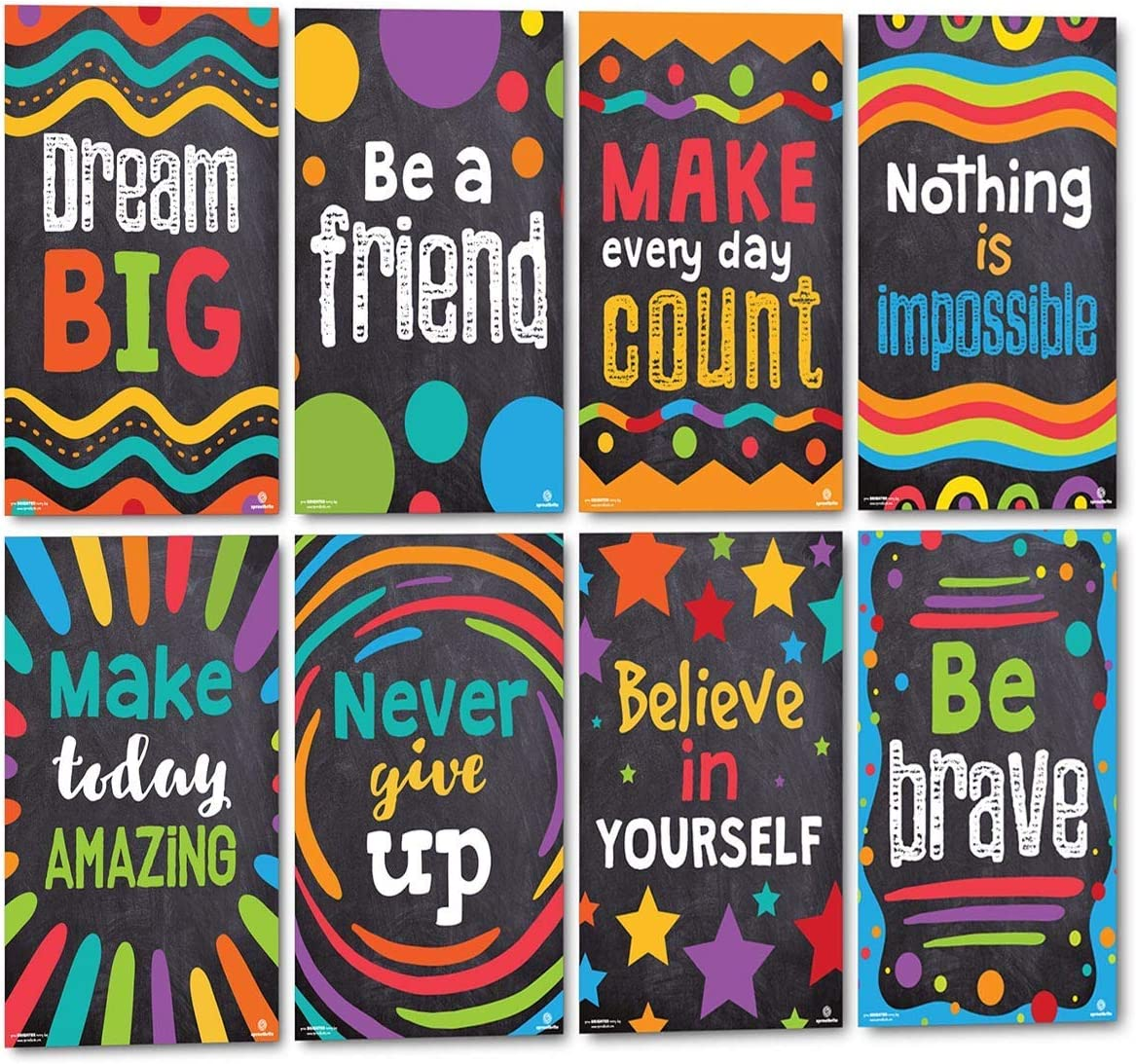 Sproutbrite Classroom Decorations - Motivational Posters for Teachers - inspirational Bulletin Board and Wall Decor for Pre School, Elementary and Middle School