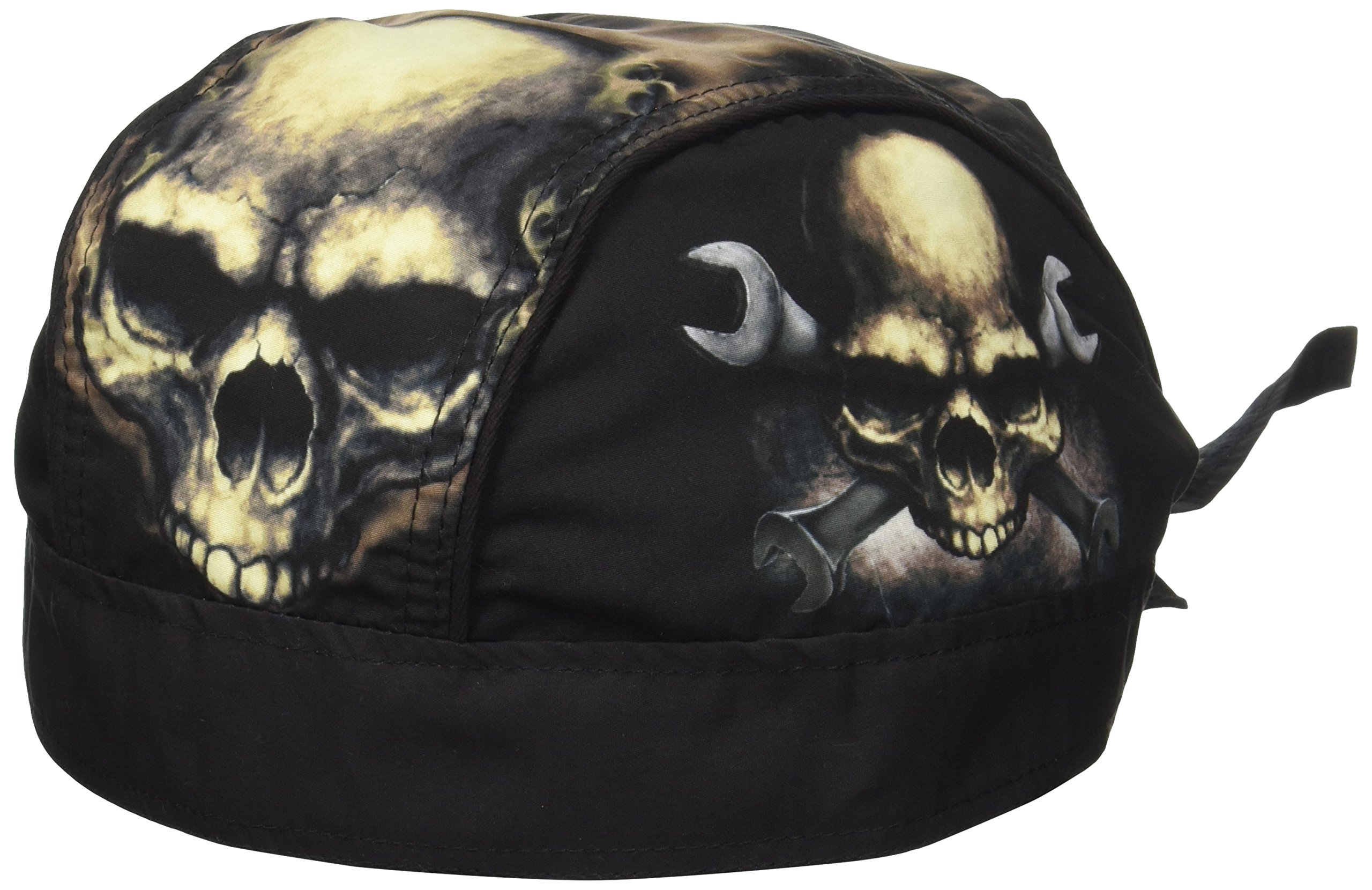 Hot Leathers Skull and Wrench Bones Head Wrap (Black) by Hot Leathers
