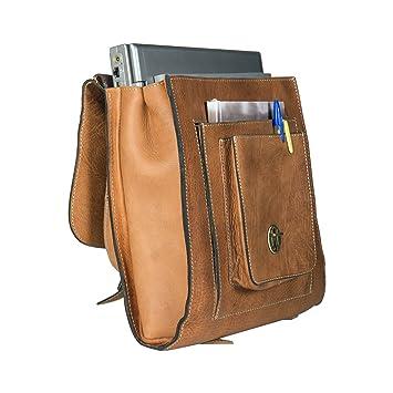 2f945b179518c Echtleder Rucksack für Frauen   Männer Handgefertigte Umhängetasche und  Vintage Braune Kuriertasche