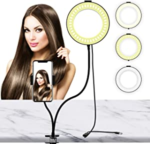 LIERONT 6 inch Selfie Ring Light with Phone Holder Stand, Desk Ring Light for Table Makeup, Live Stream & YouTube Video, 3 Light Modes 10-Level Brightness 360° Rotating for iPhone, Android Phones