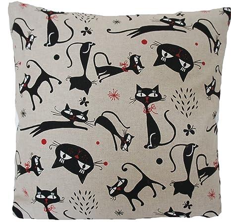 """Negro Gatos cojín impreso gris tela de lino cuadrado 16 """" ..."""
