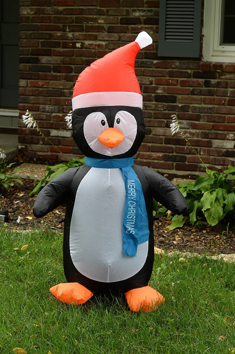 Blow up 4 Foot Self Inflating Illuminated Penguin with Santa Hat Yard Decoration Inflatable