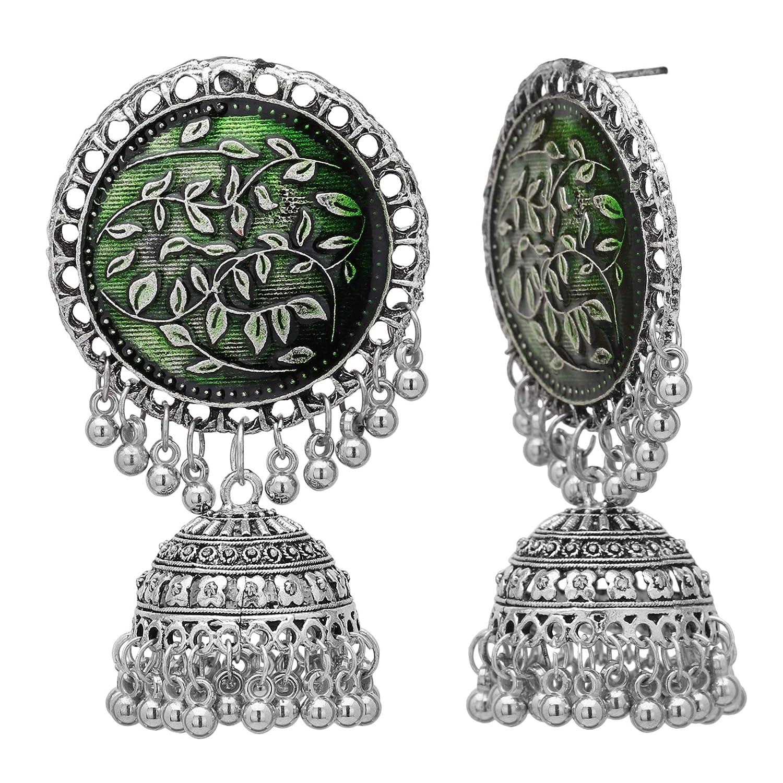 Jwellmart Afghani Bohemian Oxidized Silver CZ Stone Drop Dangle Bali Jhumka Indian Earrings for Women and Girls