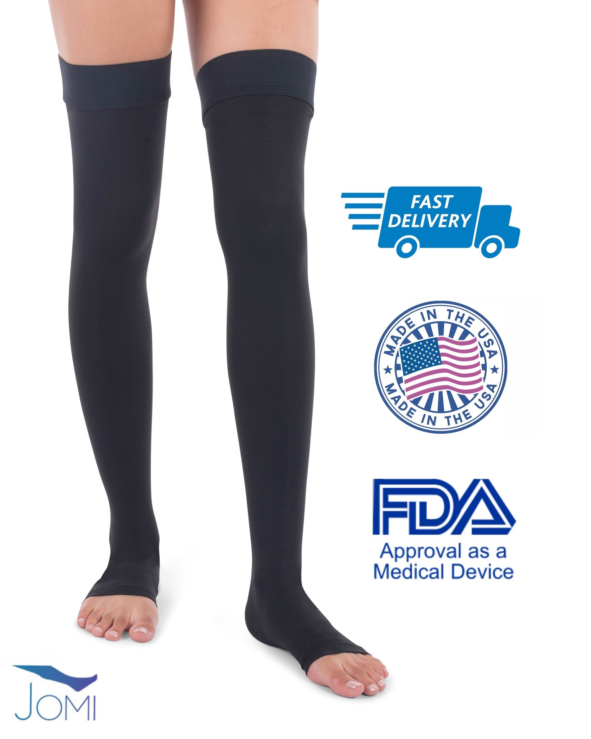 Jomi Compression Thigh High Collection, 20-30mmHg Surgical Weight Open Toe 241 (XX-Large, Black)