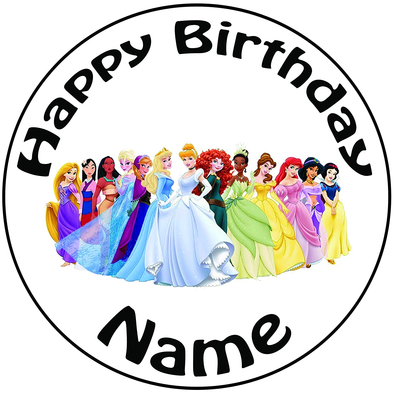 "Personalised Birthday Disney Princesses Round 8/"" Easy Precut Icing Cake Topper"
