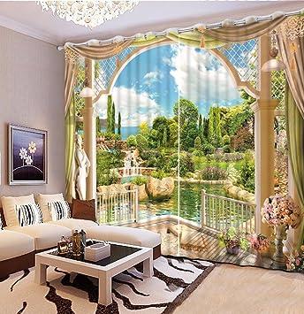 Amazon De Sproud Garten Landschaft 3d Schlafzimmer Gardinen Schone