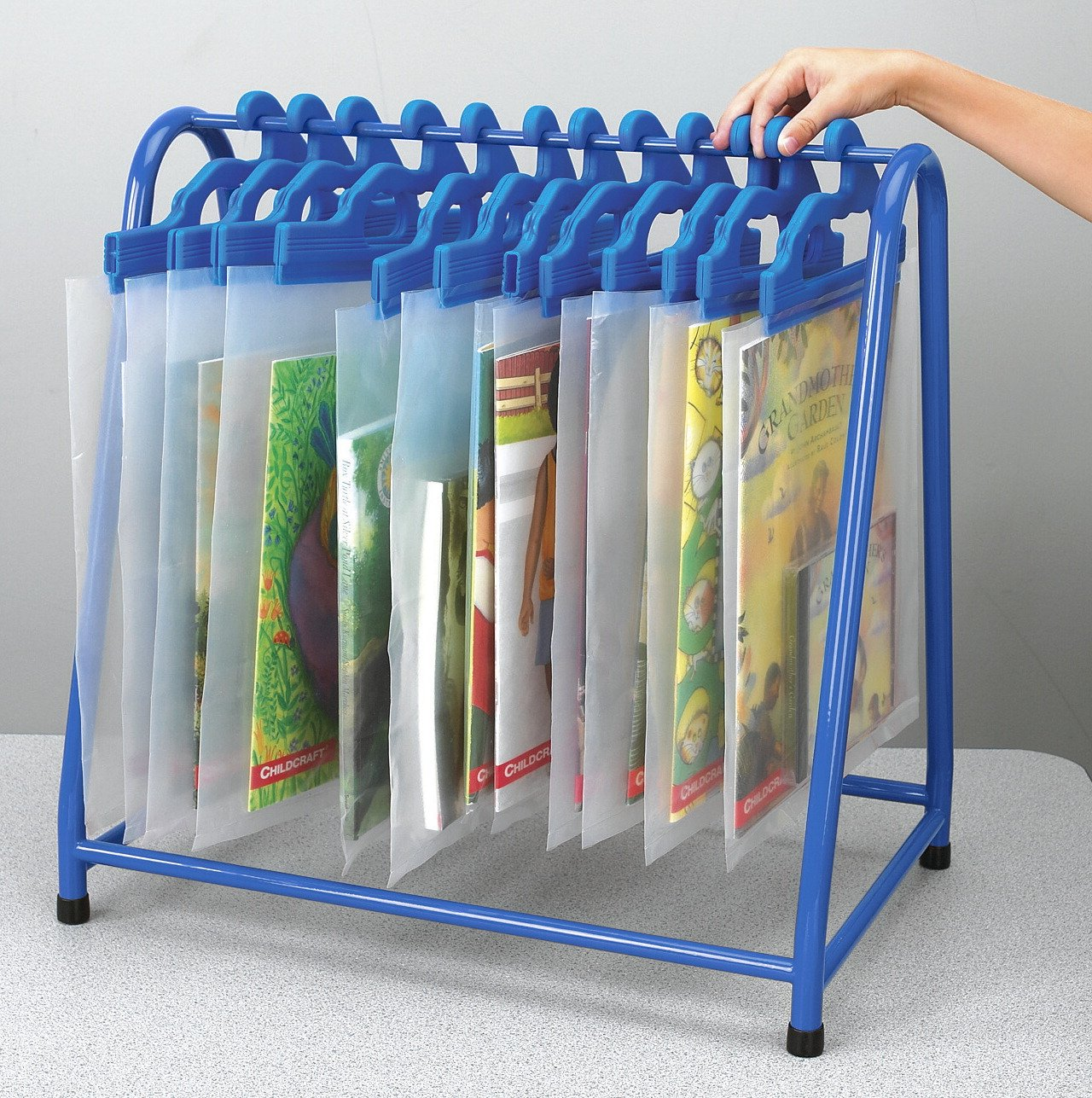 School Specialty TA-7219KD-BL Metal Read Along Book Rack, Blue by School Specialty (Image #1)