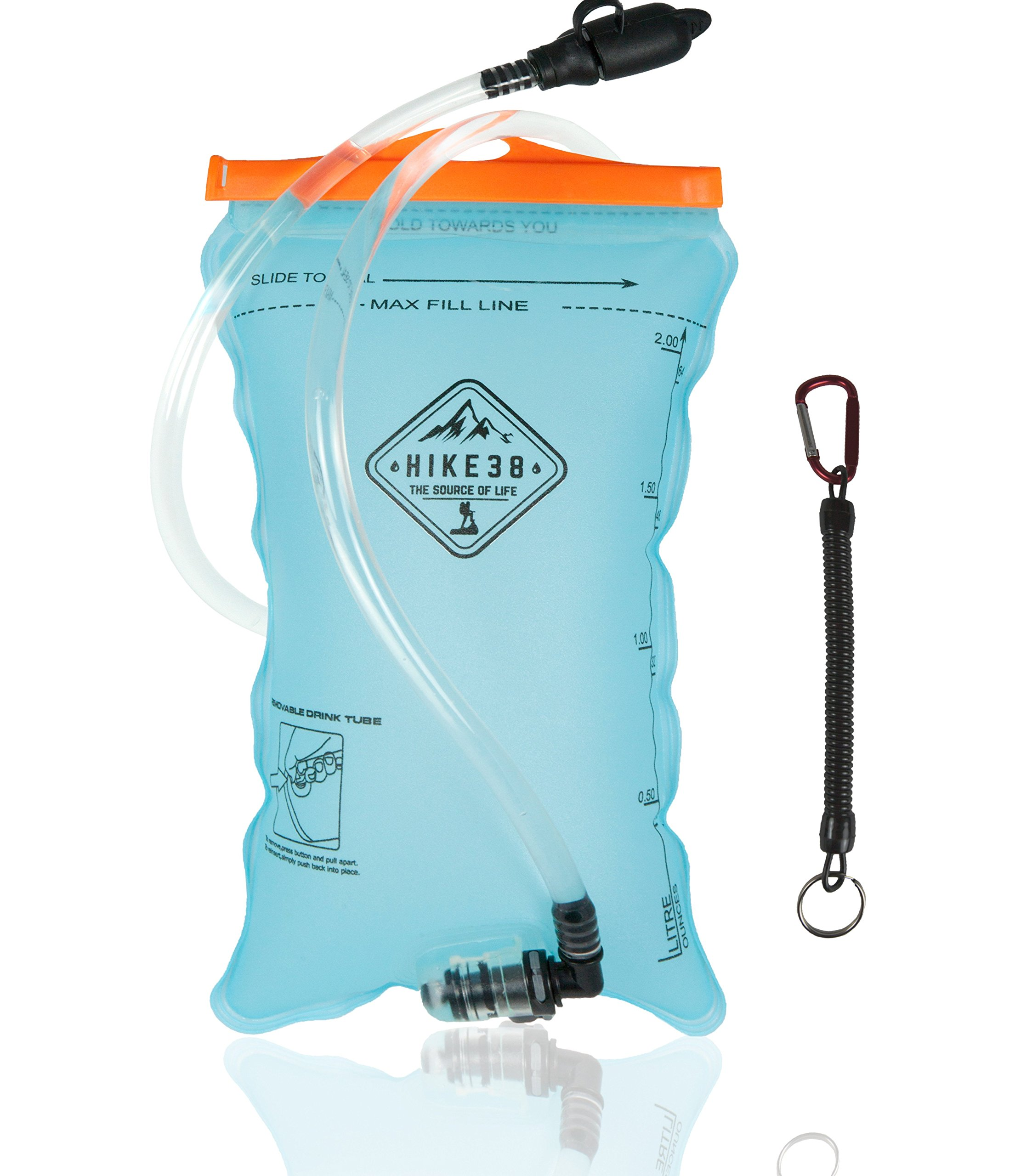 Hike38 - Hydration Bladder for Water Pack - 2 Liter Reservoir for Backpack -Taste Free Bladders for Hiking, Cycling - Extra Large Opening for Easy Cleaning & Filling - with Usefull Lanyard Carabiner