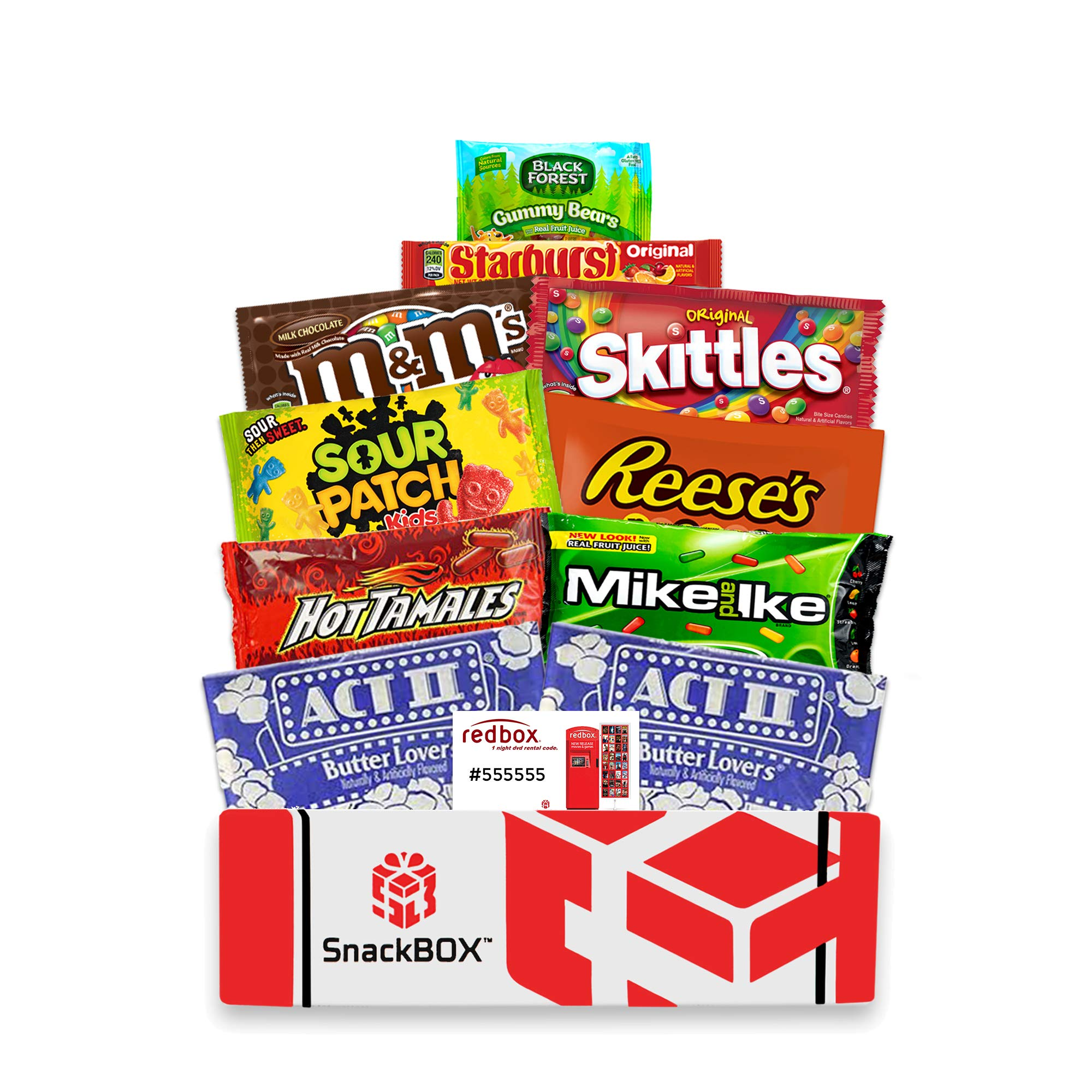 Redbox Movie Night Care Package with Popcorn, Candy and Movie Rental for College Students, Halloween, Gift Ideas, Birthday and Finals (10 Items) From Snack Box by SB SnackBOX